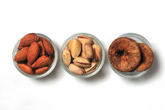 Dry fruits. Almonds, pistachios and figs from india Stock Image