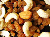 Dry Fruits background. Background of dry fruits comprising of cashew nuts,almonds and raisins Royalty Free Stock Photos