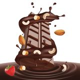 Chocolate bar and liquid with dry fruits. Dry fruits chocolate liquid and bar for advertising purpose and individual use Stock Image