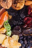 Dry fruits and nuts. Dry fruits close up top view as a background Royalty Free Stock Photo