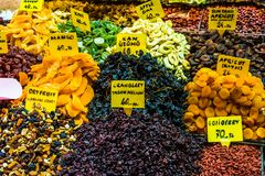 Dry fruits displayed for sale in a bazaar Stock Images