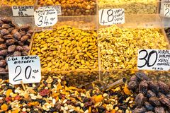 Dry fruits displayed for sale in a turkish bazaar Royalty Free Stock Photo