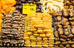 Dry fruits on the Egyptian bazaar Royalty Free Stock Photo