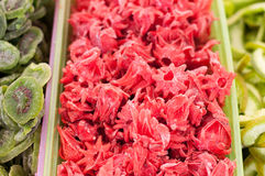Dry hibiscus flowers. Healthy delicious dry fruits on a market Stock Photo