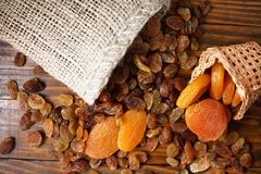 Dry fruits of grapes and apricots Stock Photo