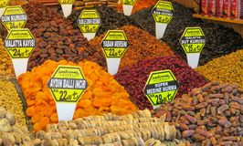 Dry fruits mix sold at the market. Dry fruits and nuts mix sold at the big market Grand Bazar in Istanbul Royalty Free Stock Photo