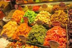 Dry fruits mix sold at the market. Dry fruits and nuts mix sold at the big market Grand Bazar in Istanbul Stock Photos