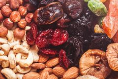 Dry fruits and nuts. Background - close up healthy sweets Royalty Free Stock Photography