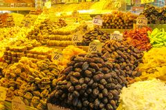 Dry fruits and nuts mix sold at the market. Dry fruits and nuts mix sold at the big market Grand Bazar in Istanbul Stock Images