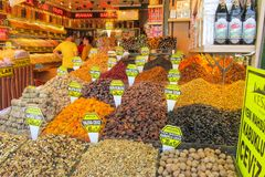Dry fruits and nuts mix sold at the market. Dry fruits and nuts mix sold at the big market Grand Bazar in Istanbul Stock Photos