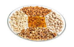 Dry Fruits and Nuts in a Tray Royalty Free Stock Images
