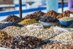 Dry fruits and spices like cashews, raisins, cloves, anise, etc. Stock Images