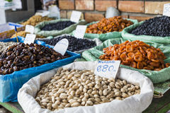 Dry fruits and spices like cashews, raisins, cloves, anise, etc. Stock Photography