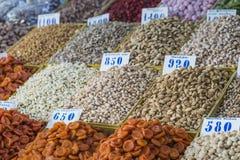 Dry fruits and spices like cashews, raisins, cloves, anise, etc. Stock Image