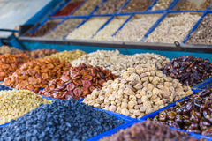 Dry fruits and spices like cashews, raisins, cloves, anise, etc. Stock Photos