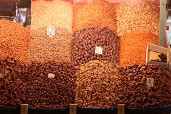 Dry fruits stand Stock Photo