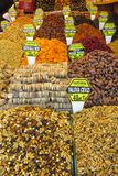 Dry fruits mix at the asian market. Dry fruits and sweets mix sold at the big market Royalty Free Stock Photos