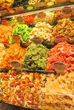 Dry fruits mix at the asian market. Dry fruits and sweets mix sold at the big market Stock Photo