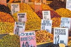 Dry fruits and nuts mix at the asian market. Dry fruits and sweets mix sold at the big market Stock Photography