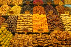 Dry fruits and sweets mix sold at the market. Dry fruits, sweets and nuts mix sold at the big market Grand Bazar in Istanbul Royalty Free Stock Photography
