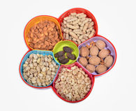 Dry Fruits Tray with 5 Different Items to Eat Stock Images