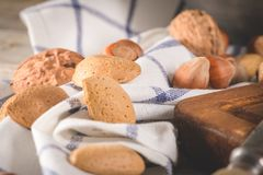 Dry fruits on wooden table Stock Photos