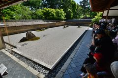 The dry garden. Ryoan-ji zen temple. Kyoto. Japan. Ryōan-ji is a Zen temple located in northwest Kyoto; the Ryōan-ji garden is considered one of the finest Royalty Free Stock Images
