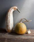 Dry garlic, pumpkin, zucchini. Still life with dry garlic, pumpkin, zucchini Royalty Free Stock Images