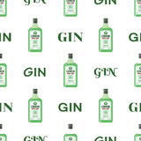 Dry gin bottles seamless pattern. Alcohol drink flat style design Stock Photography