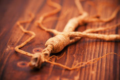 Dry ginseng on wood background Stock Photo