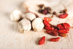 Dry goji berries and coriander seed close up Stock Image