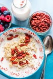Dry goji fruit berry with homemade porridge Stock Photos