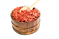 Dry goji in a rustic pot Royalty Free Stock Images
