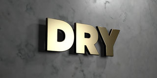 Dry - Gold sign mounted on glossy marble wall  - 3D rendered royalty free stock illustration Royalty Free Stock Images