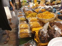 Dry goods food and fruits vendor. This dried food and fruits vendor is one of the stolls at the Icon Siam indoor water market Bangkok, Thailand stock photos