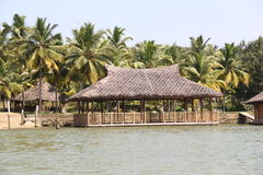 Dry Grass Sloping roof houses of Kerala Backwaters Stock Images