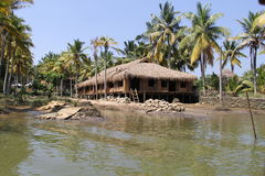 Dry Grass Sloping roof houses of Kerala Backwaters Royalty Free Stock Photo