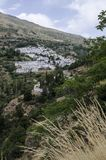 Dry grass and  white Village in Sierra Nevada, sou. Th Spain, Europe Stock Photography
