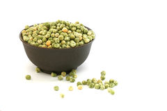 Dry green pea on white background Stock Photo