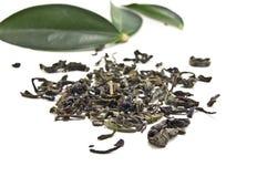 Dry green tea. On white Stock Photo