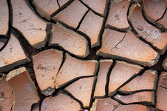 Dry Ground. Pattern of cracked and dried soil under the Sun stock photo