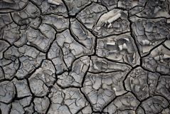 Dry Ground With Cracks. Waterless dry dead ground dirt with cracks and fracture. Post-Apocalyptic Earth after ecological disaster, without water irrigation Royalty Free Stock Photos