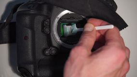 Dry hand cleaning matrix in a digital camera stock video