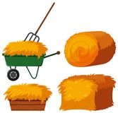 Dry hay in bucket and wagon. Illustration royalty free illustration