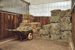 Dry hay stacks in rural wooden barn interior Stock Photos