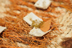 Dry herbage background. Dry herbage and pieces of bark on straw plate Royalty Free Stock Photo