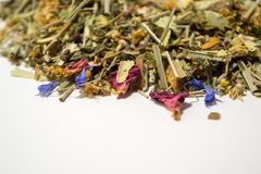 Dry herbal tea. A variety of fragrant herbs for brewing tea Stock Images