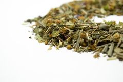 Dry herbal tea. A variety of fragrant herbs for brewing tea. Side view. Royalty Free Stock Photos