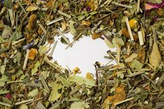Dry herbal tea. A variety of fragrant herbs for brewing tea Royalty Free Stock Photo