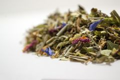 Dry herbal tea. A variety of fragrant herbs for brewing tea. Side view Royalty Free Stock Image